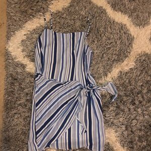 Striped wrap tie dress